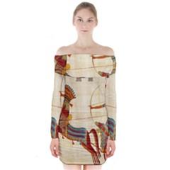 Egyptian Tutunkhamun Pharaoh Design Long Sleeve Off Shoulder Dress