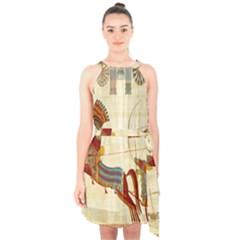 Egyptian Tutunkhamun Pharaoh Design Halter Collar Waist Tie Chiffon Dress
