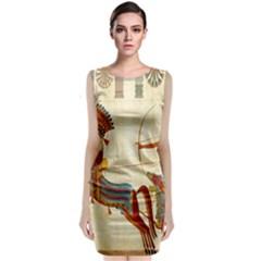Egyptian Tutunkhamun Pharaoh Design Sleeveless Velvet Midi Dress
