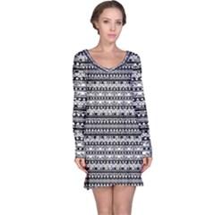 Zentangle Lines Pattern Long Sleeve Nightdress