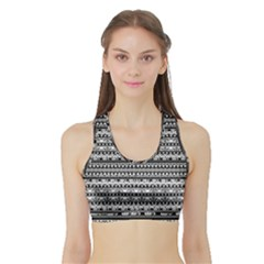 Zentangle Lines Pattern Sports Bra With Border