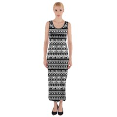 Zentangle Lines Pattern Fitted Maxi Dress