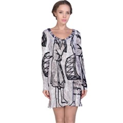 Man Ethic African People Collage Long Sleeve Nightdress