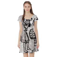 Man Ethic African People Collage Short Sleeve Skater Dress