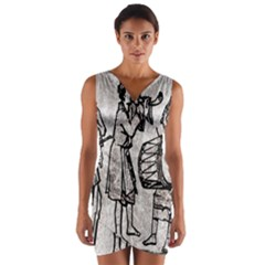 Man Ethic African People Collage Wrap Front Bodycon Dress
