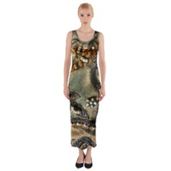 Texture Textile Beads Beading Fitted Maxi Dress