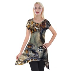 Texture Textile Beads Beading Short Sleeve Side Drop Tunic