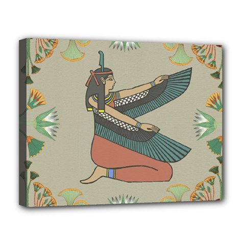 Egyptian Woman Wings Design Canvas 14  X 11