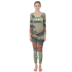 Egyptian Woman Wings Design Long Sleeve Catsuit