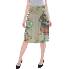 Egyptian Woman Wings Design Midi Beach Skirt