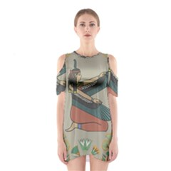Egyptian Woman Wings Design Shoulder Cutout One Piece