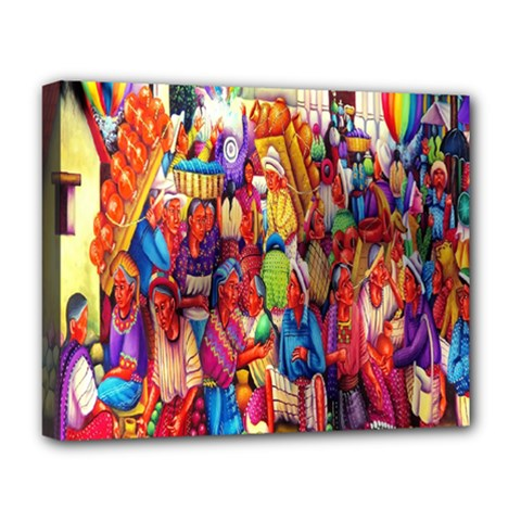 Guatemala Art Painting Naive Deluxe Canvas 20  X 16