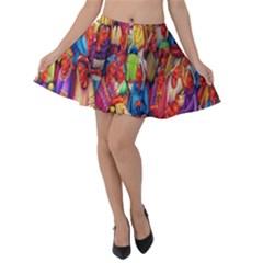 Guatemala Art Painting Naive Velvet Skater Skirt