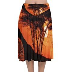 Africa Safari Summer Sun Nature Velvet Flared Midi Skirt