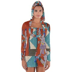 Mexico Puebla Mural Ethnic Aztec Long Sleeve Hooded T Shirt