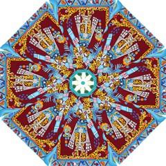 Mexico Puebla Mural Ethnic Aztec Hook Handle Umbrellas (large)