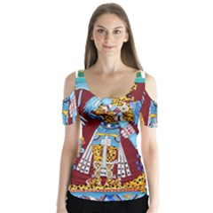 Mexico Puebla Mural Ethnic Aztec Butterfly Sleeve Cutout Tee