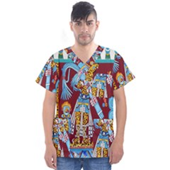 Mexico Puebla Mural Ethnic Aztec Men s V Neck Scrub Top