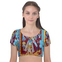 Mexico Puebla Mural Ethnic Aztec Velvet Short Sleeve Crop Top
