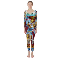 Mexico Puebla Mural Ethnic Aztec Long Sleeve Catsuit