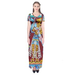 Mexico Puebla Mural Ethnic Aztec Short Sleeve Maxi Dress