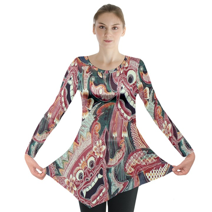 Indonesia Bali Batik Fabric Long Sleeve Tunic