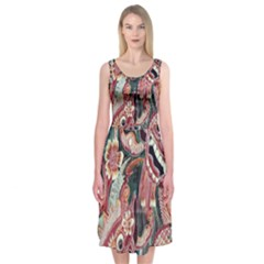 Indonesia Bali Batik Fabric Midi Sleeveless Dress