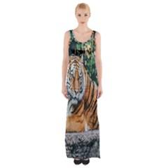 Animal Big Cat Safari Tiger Maxi Thigh Split Dress