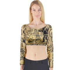 Mystery Pattern Pyramid Peru Aztec Font Art Drawing Illustration Design Text Mexico History Indian Long Sleeve Crop Top