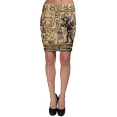 Mystery Pattern Pyramid Peru Aztec Font Art Drawing Illustration Design Text Mexico History Indian Bodycon Skirt