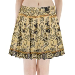 Mystery Pattern Pyramid Peru Aztec Font Art Drawing Illustration Design Text Mexico History Indian Pleated Mini Skirt