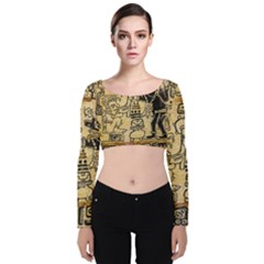 Mystery Pattern Pyramid Peru Aztec Font Art Drawing Illustration Design Text Mexico History Indian Velvet Long Sleeve Crop Top