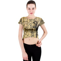 Mystery Pattern Pyramid Peru Aztec Font Art Drawing Illustration Design Text Mexico History Indian Crew Neck Crop Top