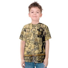 Mystery Pattern Pyramid Peru Aztec Font Art Drawing Illustration Design Text Mexico History Indian Kids  Cotton Tee