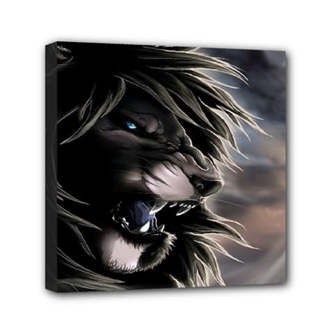 Angry Lion Digital Art Hd Mini Canvas 6  X 6