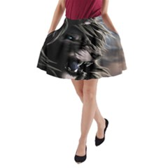 Angry Lion Digital Art Hd A Line Pocket Skirt
