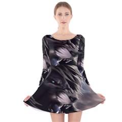 Angry Lion Digital Art Hd Long Sleeve Velvet Skater Dress