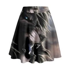 Angry Lion Digital Art Hd High Waist Skirt