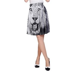 Lion Wildlife Art And Illustration Pencil A Line Skirt
