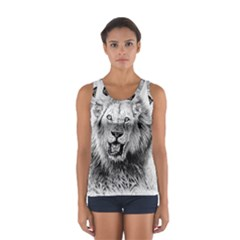Lion Wildlife Art And Illustration Pencil Sport Tank Top