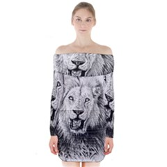 Lion Wildlife Art And Illustration Pencil Long Sleeve Off Shoulder Dress
