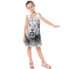Lion Wildlife Art And Illustration Pencil Kids  Sleeveless Dress
