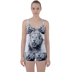 Lion Wildlife Art And Illustration Pencil Tie Front Two Piece Tankini