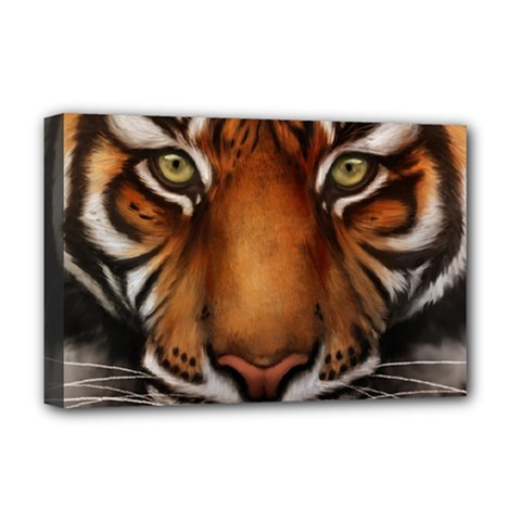 The Tiger Face Deluxe Canvas 18  X 12