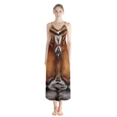 The Tiger Face Button Up Chiffon Maxi Dress