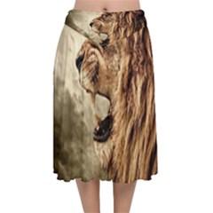 Roaring Lion Velvet Flared Midi Skirt