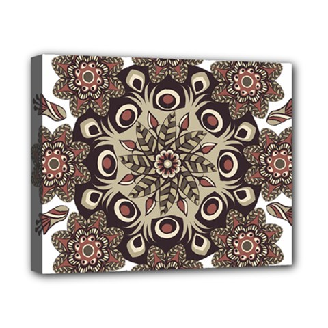 Mandala Pattern Round Brown Floral Canvas 10  X 8