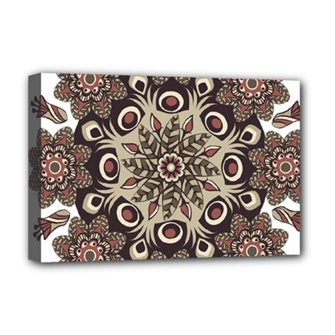 Mandala Pattern Round Brown Floral Deluxe Canvas 18  X 12