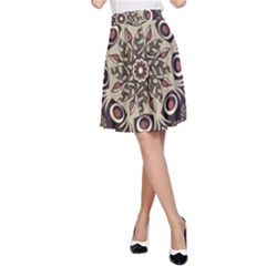 Mandala Pattern Round Brown Floral A Line Skirt