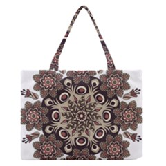 Mandala Pattern Round Brown Floral Zipper Medium Tote Bag